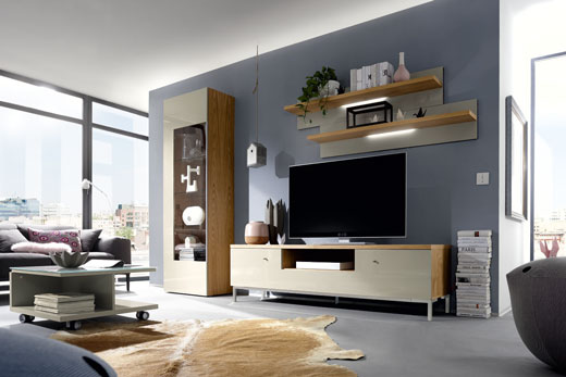 Программа модульной корпусной мебели в современном стиле для гостиной Time от Now by Hulsta, витрины, комоды, стенки в шпоне, глянце, массиве дуба, под заказ в Минске