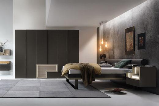 Модульная корпусная мебель для спальной комнаты, в современном стиле, в лаке, глянце, шпон, под заказ в Минске